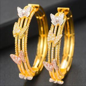 Butterfly Tri-color Hoop Earrings